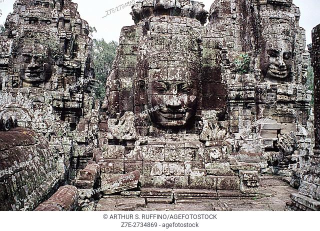 Tower faces of Angkor Thom, Siem Reap, Cambodia, UNESCO World Heritage Site