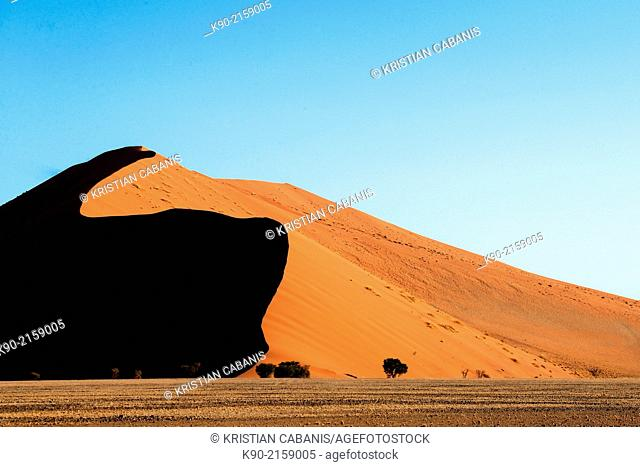 Sand dunes in the sun with shadow, Sossusvlei, Namib-Naukluft Park, Namibia, Africa