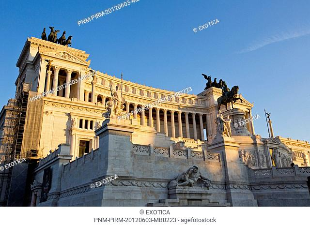 Architectural detail of the Vittorio Emanuele Monument in Rome, Lazio, Italy