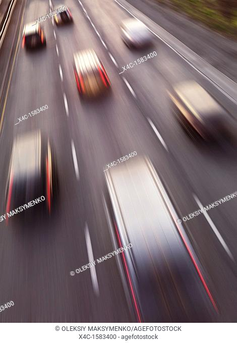 Highway traffic in motion  Dynamic high angle view photo