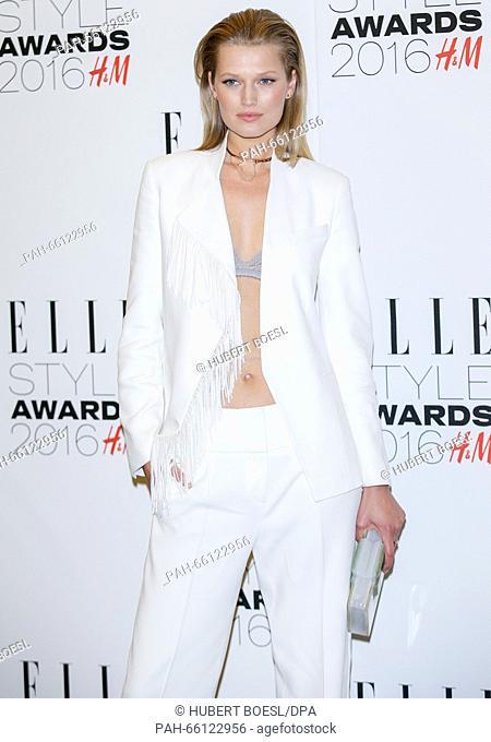 German model Toni Garrn arrives at the Elle Style Awards in London, England, on 23 February 2016. Photo: Hubert Boesl - NOWIRESSERVICE-   usage worldwide