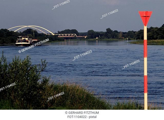High water measuring pole, Elbe River, Germany