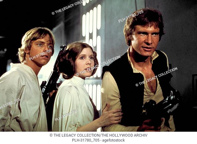 "Studio Publicity Still of Harrison Ford, Carrie Fisher and Mark Hamill in """"Star Wars"""" 1977 20th Century Fox"