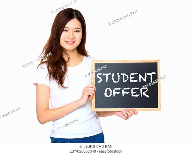 Woman with the chalkboard showing student offer