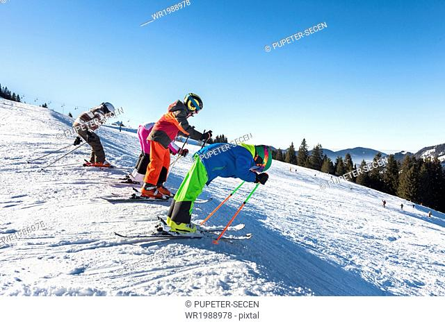 Ski holiday, children learning to ski, Sudelfeld, Bavaria, Germany