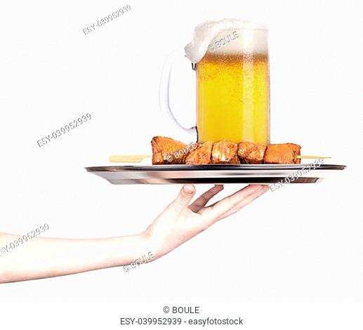 fresh grilled meat dishes with beer glass isolated on a white background