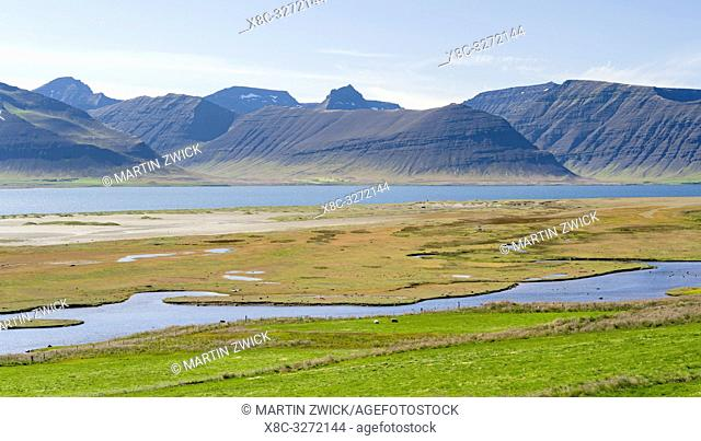Landscape at fjord Dyrafjoerdur. View towards the mountains of the Thingeyri peninsula. The remote Westfjords (Vestfirdir) in north west Iceland