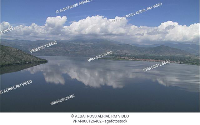 Aerial HD video of beautiful clouds above Kastoria city