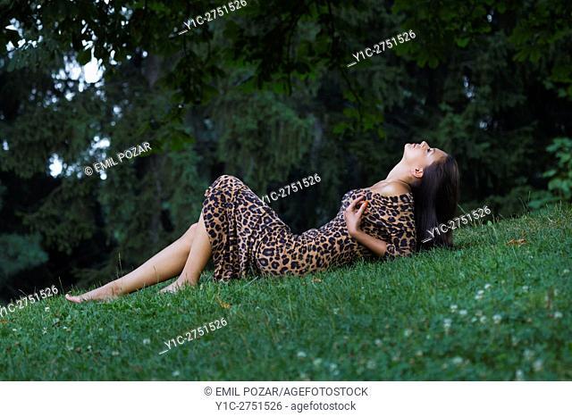 Teen girl on greenfield