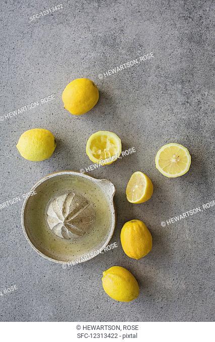 Juicing homegrown organic lemons