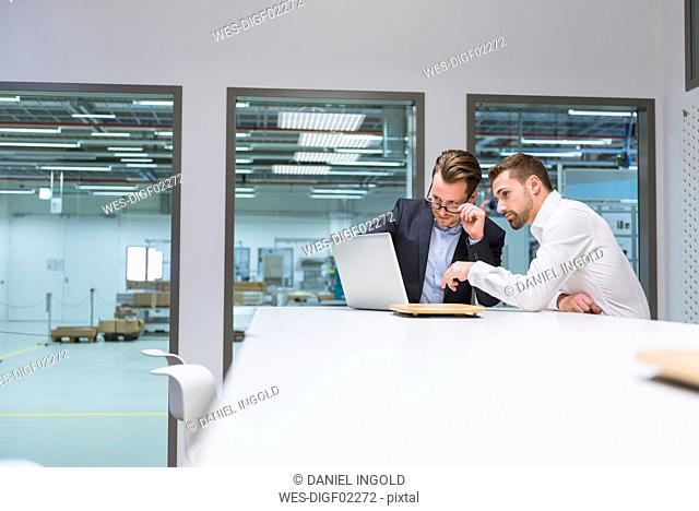 Two businessmen sitting in modern office, discussing in front of laptop