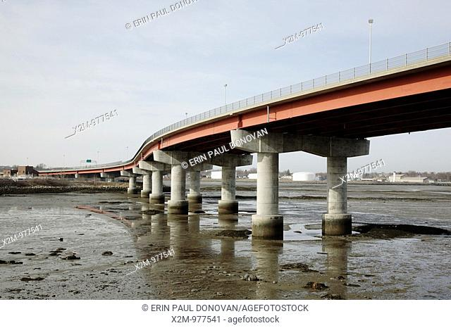 Casco Bay Bridge during the spring months  Located in Portland, Maine USA, which is on the New England seacoast  Notes: