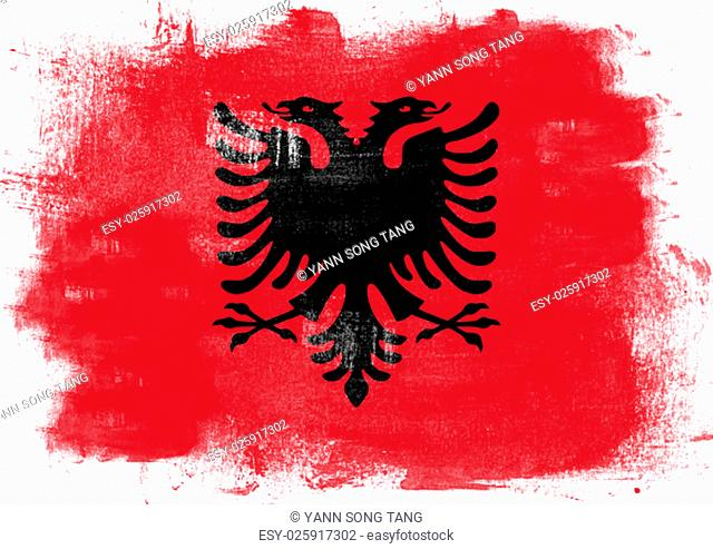 Flag of Albania painted with brush on solid background