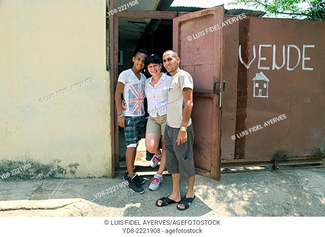 Happy family in Moron, Ciego de Avila, Cuba
