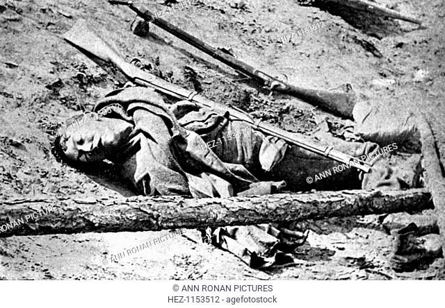 Dead soldier lying in the road at Fredericksburg, Virginia, American Civil War, 3 May 1863