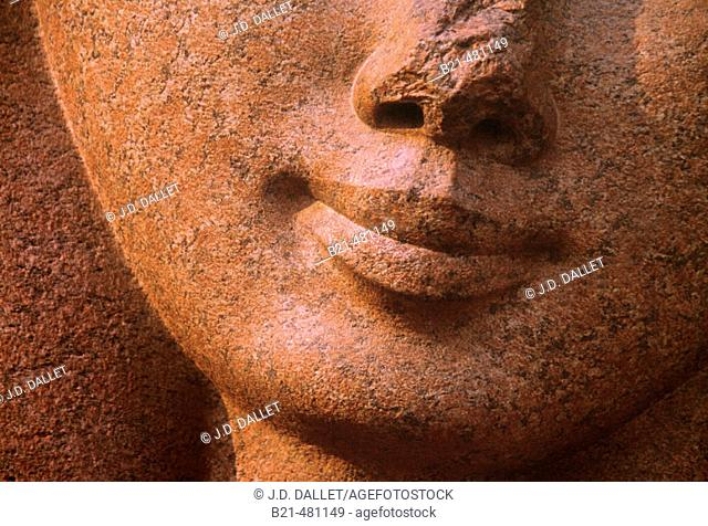 Egyptian Museum: detail of a Ramses head. Cairo. Egypt