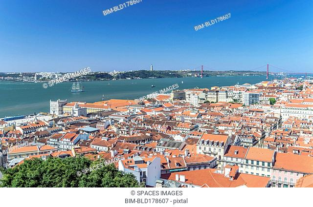 Aerial view of Lisbon cityscape, Lisbon, Portugal