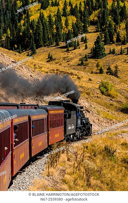 The Cumbres & Toltec Scenic Railroad train pulled by a steam locomotive on the 64 mile run between Chama, New Mexico and Antonito, Colorado