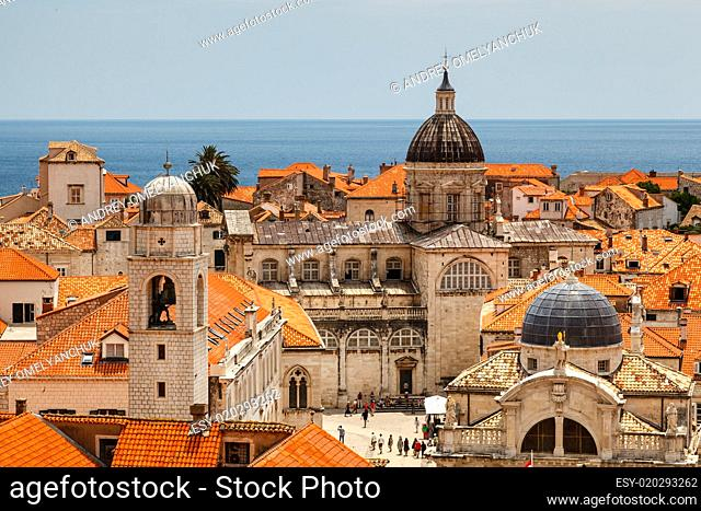 Aerial View on the Old City of Dubrovnik from the City Walls, Cr