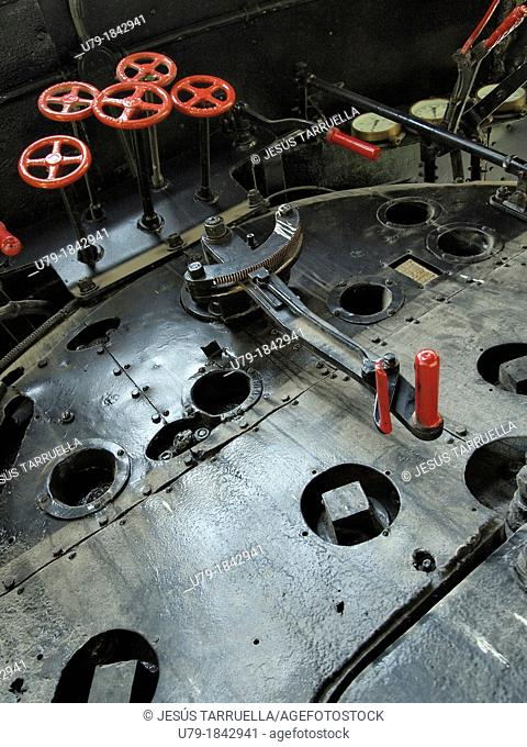 Interior view of an old train engine. Locomotive. Polytechnic University of Valencia. Spain. Europe