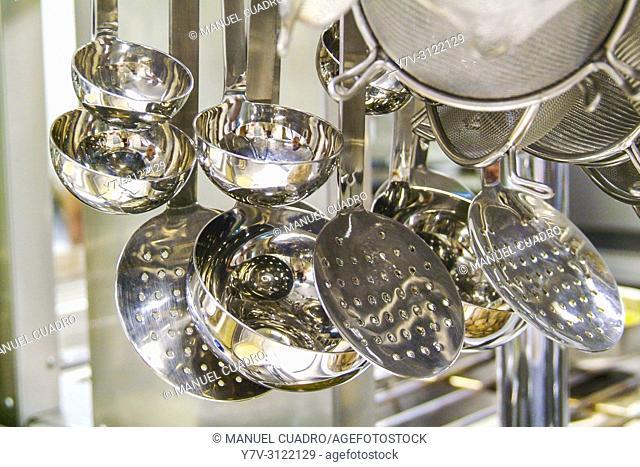 Kitchen utensils. Asador Horma Ondo. Larrabetzu, Biscay, Basque Country, Spain