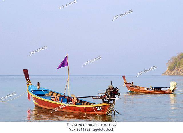 Thai fishing boats at Kata Beach, Phuket