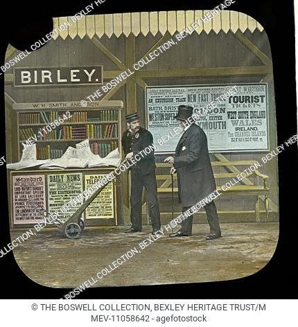The Eight O'clock up - Station with Porter and trolley and traveller. Part of Box 52 Boswell collection. Nursery Rhymes