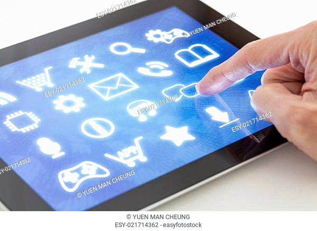 Clicking on a tablet with touchscreen interface