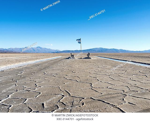 Salt processing area open to visitors Landscape on the salt flats Salar Salinas Grandes in the Altiplano. South America, Argentina