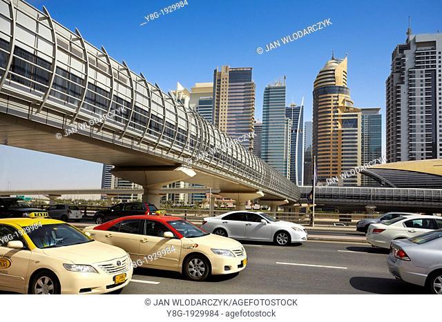 Dubai - Sheikh al Zayed road, main street of Dubai city, United Arab Emirates