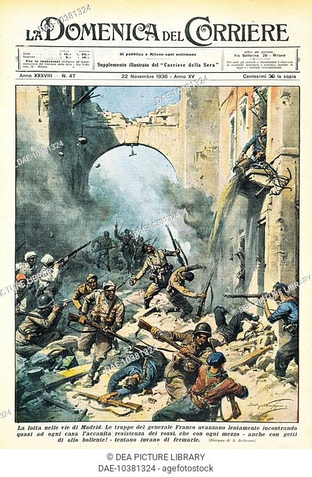 Melee in the streets of Madrid during the Spanish Civil War. Achille Beltrame (1871-1945), from La Domenica del Corriere, November 22, 1936