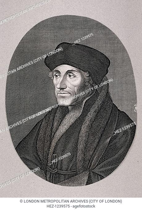 Desiderius Erasmus, c1750. The philosopher Erasmus in square cap and fur trimmed robes