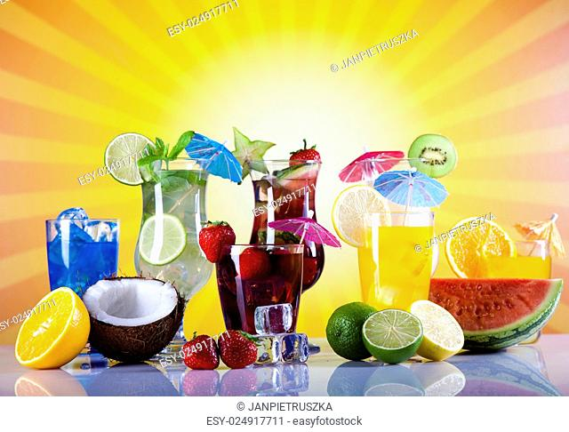 Alcohol drinks, beach background, natural colorful tone