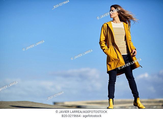 Young woman, Port, Mutriku, Gipuzkoa, Basque Country, Spain