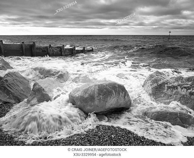 An infrared image of the coast and a groyne at Selsey in West Sussex, England