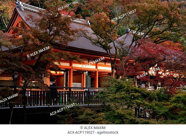 Amida-do and Okuno-in hall of Kiyomizu-dera Buddhist temple in autumn scenery. Kyoto, Japan 2017