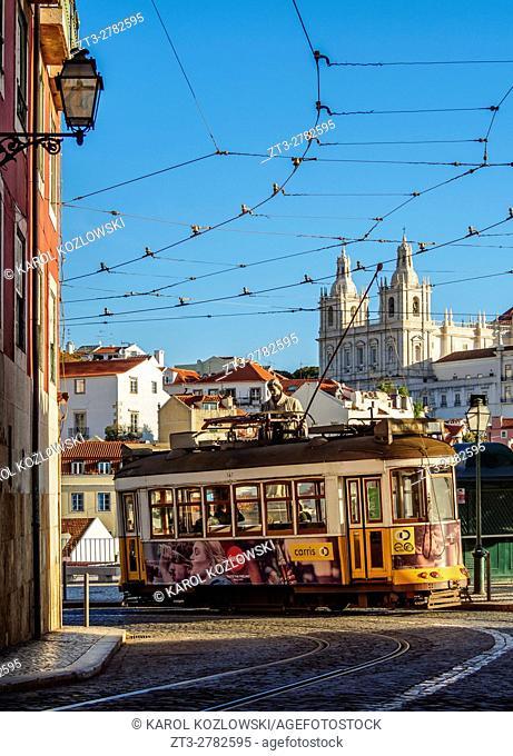 Portugal, Lisbon, Typical tram in Alfama