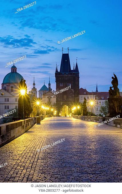 Czech Republic, Prague, Stare Mesto (Old Town). Charles Bridge at dawn