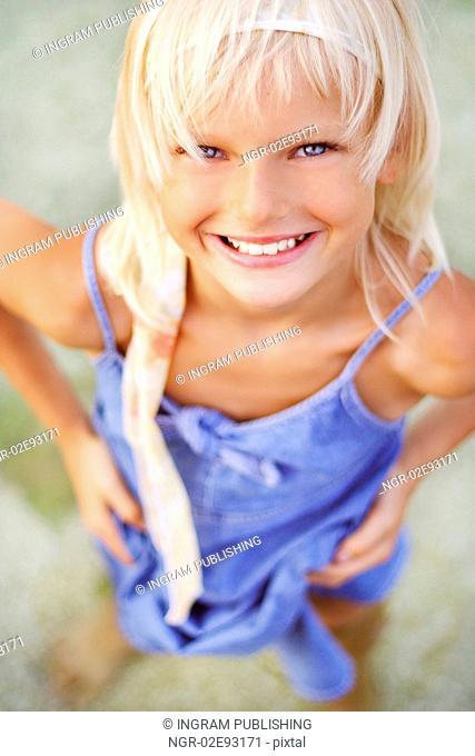 Young girl watching at the camera