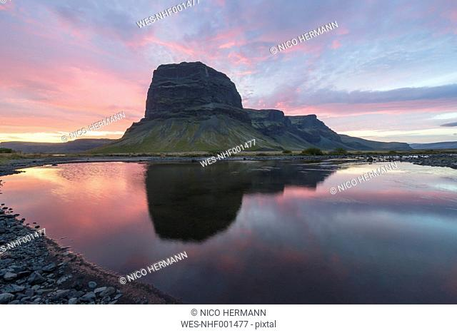Iceland, view to Lomagnupur at twilight