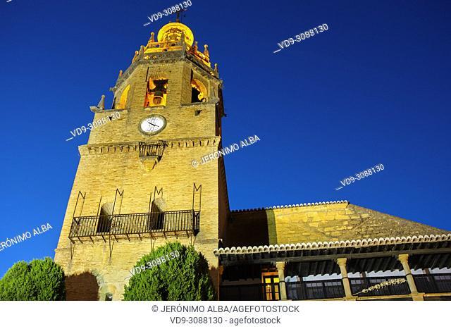 Santa Maria la Mayor church at dusk. Monumental city of Ronda. Malaga province Andalusia. Southern Spain Europe