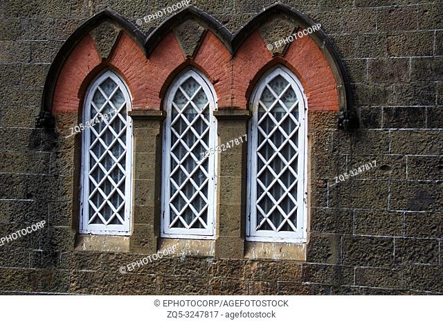 The Town Hall Museum, close-up of arched windows, Kolhapur, Maharashtra