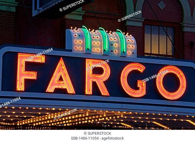 Neon sign of a theater, Fargo Theatre, Broadway Street, Fargo, North Dakota, USA