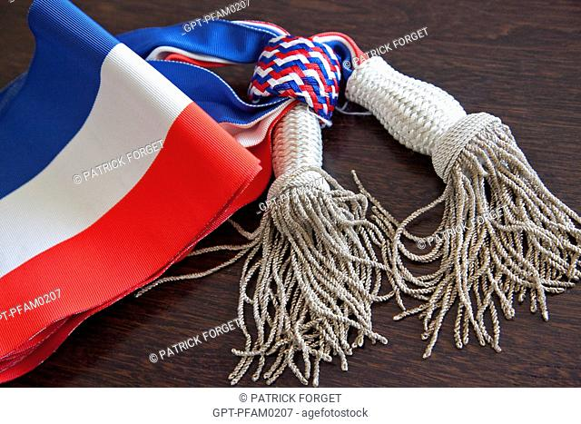 THE MAYOR'S AND ELECTED MUNICIPAL OFFICIALS' TRICOLOR SCARF, SYMBOL OF THE FRENCH REPUBLIC, FRANCE