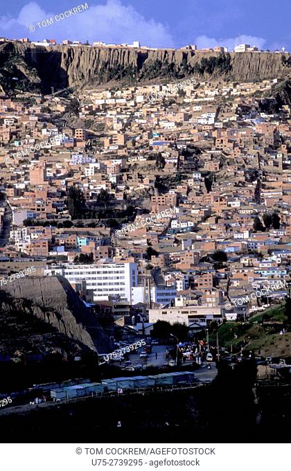 Adobe houses on canyon wall, La Paz, Bolivia
