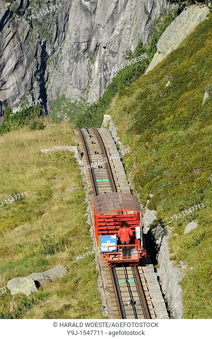 Switzerland, Western Europe, Grimsel region, nr  Guttannen, Gelmerbahn funicular  Note: No releases available  --- Info: The Gelmer cable car funicular railway...