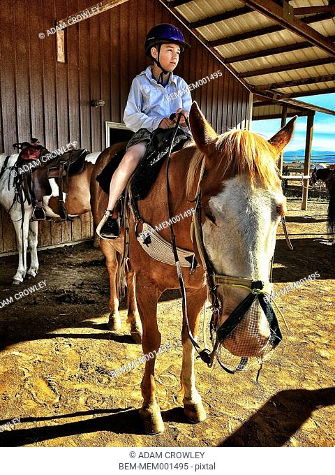 Caucasian boy riding horse