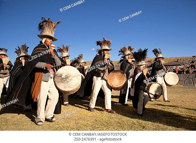 Musicians with traditional costumes at the Inti Raymi Festival at Saqsaywaman, Cuzco, Peru, South America