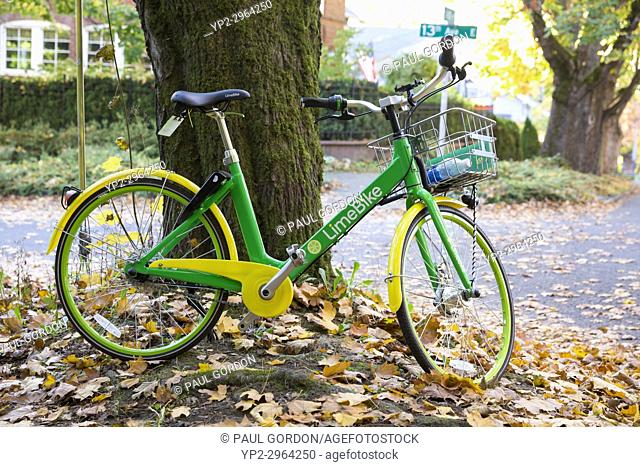 Seattle, Washington: LimeBike parked near Volunteer Park in the Capitol Hill neighborhood. Currently active in 8 US cities
