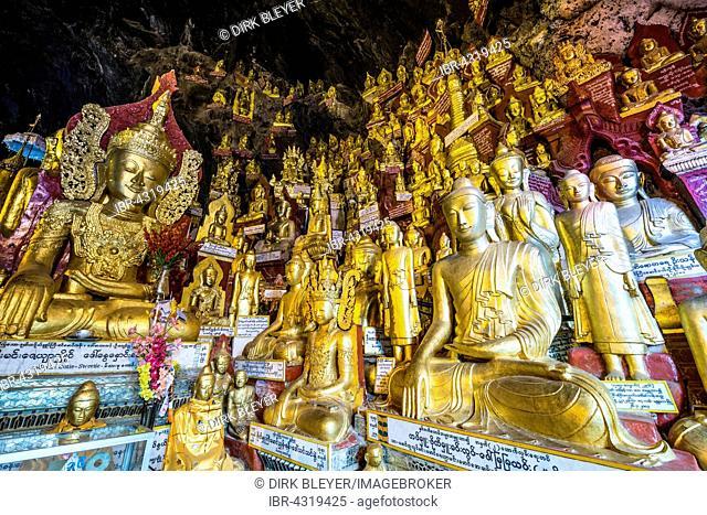 Golden Buddha statues, Pindaya cave, Taunggyi Division, Shan State, Myanmar, Burma